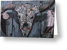 Santa Fe Bull Skull Greeting Card