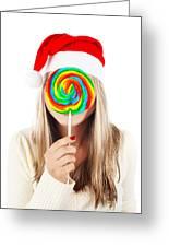Santa Girl Eating Lollipop Greeting Card