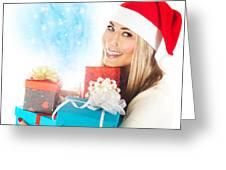 Santa Girl With Gifts Greeting Card