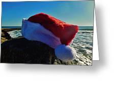Santa Hat And Ocean 10 12/19 Greeting Card