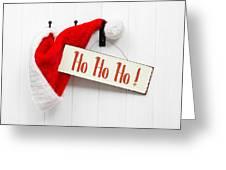 Santa Hat And Sign Greeting Card