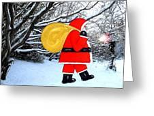 Santa In Winter Wonderland Greeting Card