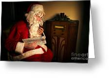 Santa Listening To The Weather Report Greeting Card