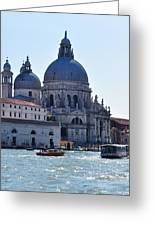 Santa Maria Della Salute Surrounded By Sparkling Waters Greeting Card