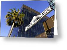 Santa Monica Blvd Sign In Beverly Hills California Greeting Card