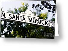 Santa Monica Blvd Street Sign In Beverly Hills Greeting Card by Paul Velgos