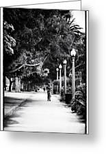 Santa Monica Jogging Greeting Card by John Rizzuto