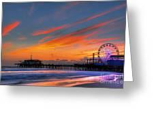 Santa Monica Pier At Dusk Greeting Card