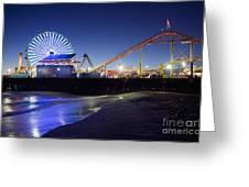 Santa Monica Pier At Night Greeting Card