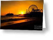 Santa Monica Pier California Sunset Photo Greeting Card by Paul Velgos