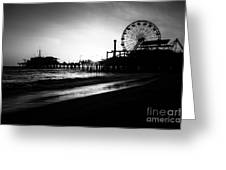 Santa Monica Pier In Black And White Greeting Card by Paul Velgos