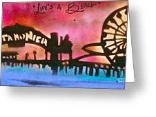 Santa Monica Pier Red Greeting Card