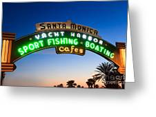 Santa Monica Pier Sign Greeting Card by Paul Velgos