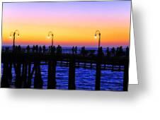 Santa Monica Pier Sunset Silhouettes Greeting Card