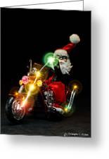 Santa Motoring Greeting Card
