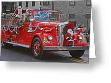 Santa On Fire Truck Greeting Card