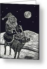 Santa On Reindeer Greeting Card