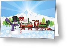 Santa On Train With Snow Scene Greeting Card