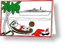 Santa On Vacation Greeting Card