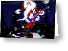 Santa Plays Guitar In A Snowstorm 2 Greeting Card