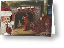 Santa Surprise Greeting Card by Kimberly Daniel