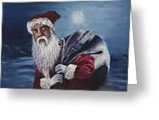 Santa With His Pack Greeting Card