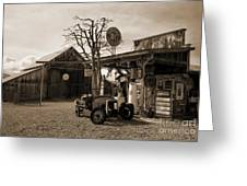 Santa Ynes Gas Station    Sepia Greeting Card