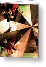 Santa's Window Washing Elves Greeting Card