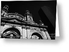 Santiago Metropolitan Cathedral Next To Modern Glass Clad Office Block Chile Greeting Card