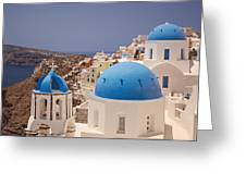 Santorini Blue Domes Greeting Card