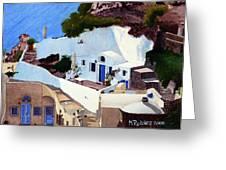 Santorini Cave Homes Greeting Card