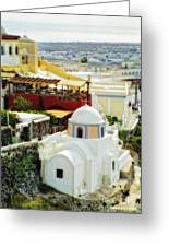 Santorini Overlook Greeting Card