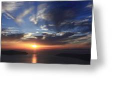 Santorini Sunset Cyclades Greece  Greeting Card