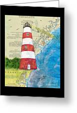 Sapelo Island Lighthouse Ga Nautical Chart Map Art Cathy Peek Greeting Card
