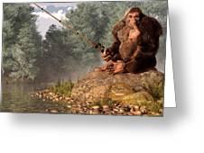 Sasquatch Goes Fishing Greeting Card