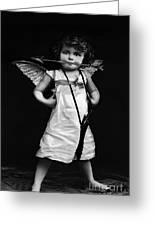 Sassy Cupid Bw Greeting Card