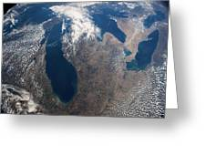 Satellite View Of Great Lakes Greeting Card