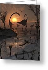 Sauropod And Duckbill Dinosaurs. Greeting Card