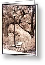 Savannah Bench Sepia Greeting Card by Carol Groenen