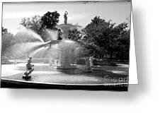 Savannah Fountain - Black And White Greeting Card