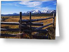 Sawtooth Mountains And Wooden Fence Greeting Card