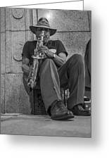 Sax Player In Chicago  Greeting Card