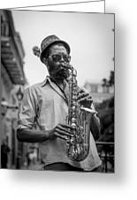 Saxophone Musician New Orleans Greeting Card