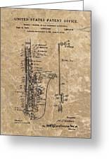 Saxophone Patent Design Illustration Greeting Card