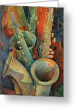 Saxophones And Bass Greeting Card