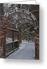 Garden Entrance During Winter Snow At Sayen Gardens Greeting Card