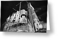 scaffolding and cranes above Sagrada Familia Barcelona Catalonia Spain Greeting Card