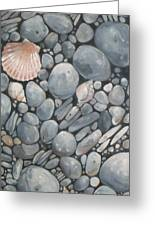 Scallop Shell And Black Stones Greeting Card