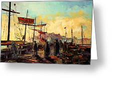 Scarborough Harbour Loading Greeting Card