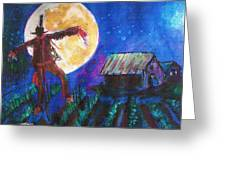 Scarecrow Dancing With The Moon Greeting Card